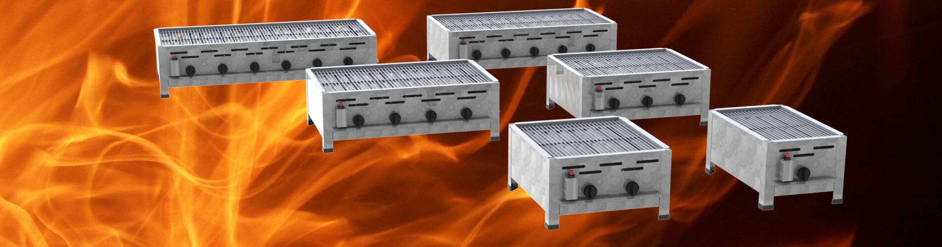 Tisch-Gastrobräter mit Grill-Rost 1-flammig bis 6-flammig