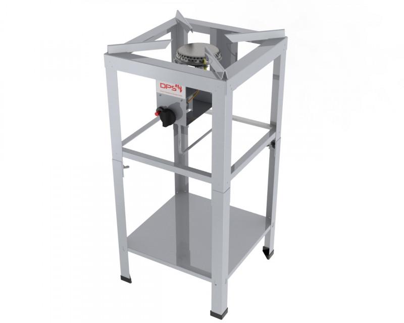 ChattenGlut Edelstahl Hockerkocher 2 KW bis 16 KW Standgerät (H= 850 mm) Rahmen L 400 x 400 Erdgas (mit Adapter Schneidring auf Zollgew.)