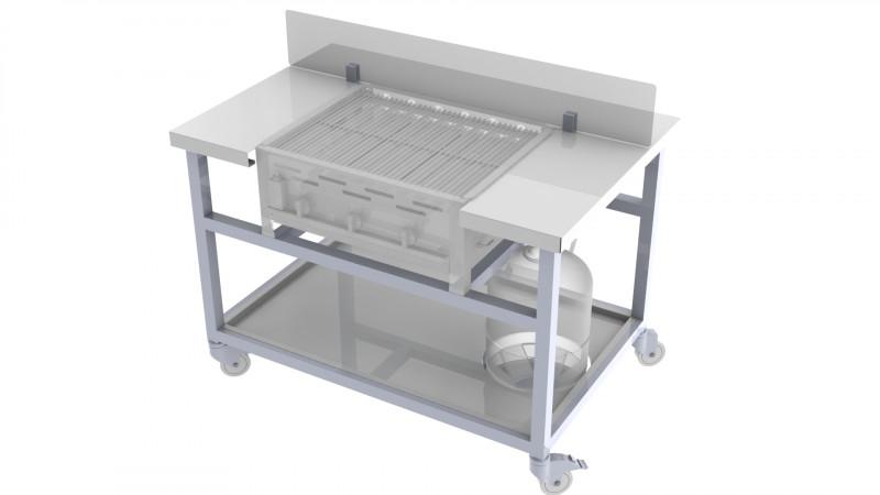 Mobile Arbeitsstation für 3er Gastrobräter