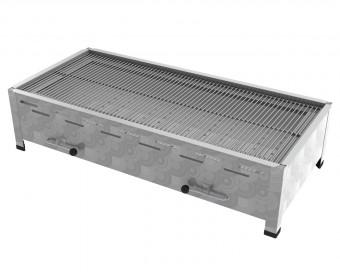 6er Tisch-Holzkohlebräter mit 3-fach verstellbarem Kohlekasten