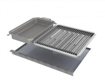 Kombi-Set 4-teilig Pfanne + V2A Rost Einzelstäbe + Flammabdeckung + Fettwanne für Gastrobräter 4-flammig