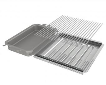 Kombi-Set 3-teilig Pfanne + V2A Rost Einzelstäbe + Flammabdeckung für Gastrobräter 4-flammig
