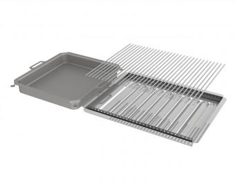 Kombi-Set 3-teilig Pfanne + V2A Rost Einzelstäbe + Flammabdeckung für Gastrobräter 6-flammig