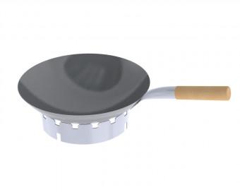 Nachrüstset Stahl-WOK Ø 36 cm mit Holzgriff und Edelstahl WOK-Ring